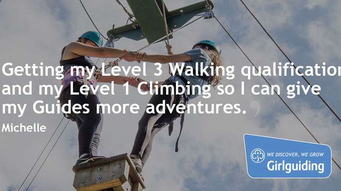 """Getting my Level 3 walking qualification and my Level 1 climbing so I can give my Guides more adventures"" - Michelle"