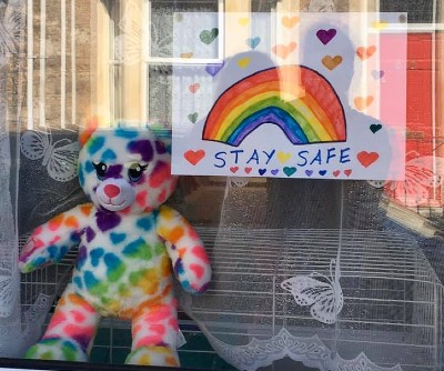 Jenni Spence's daughter's Stay safe rainbow drawing and bear