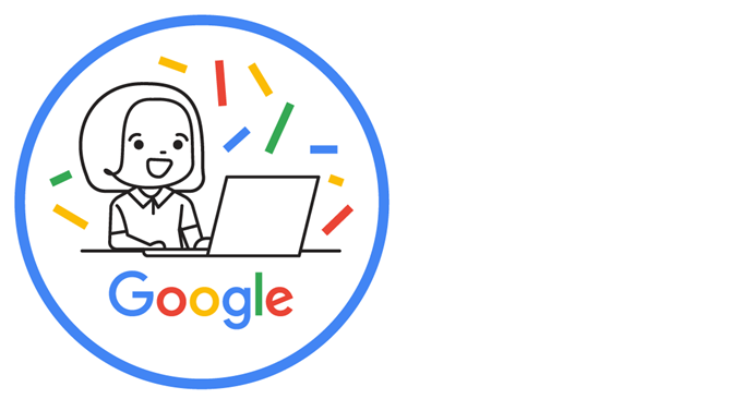 Round badge illustration showing a girl at a laptop and the Google logo