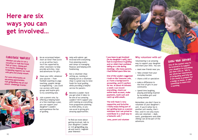 Another spread of our new parent welcome pack includes ways parents can get involved in guiding